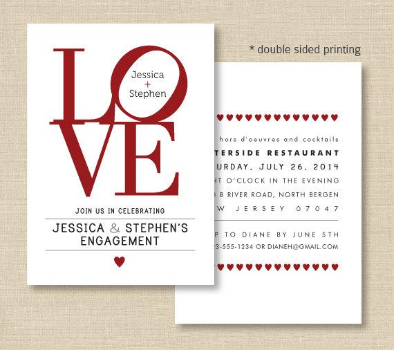 Love Invitations Love Philly Double Sided Invite For En Ement Bridal Shower Wedding Philadelphia Love Wedding