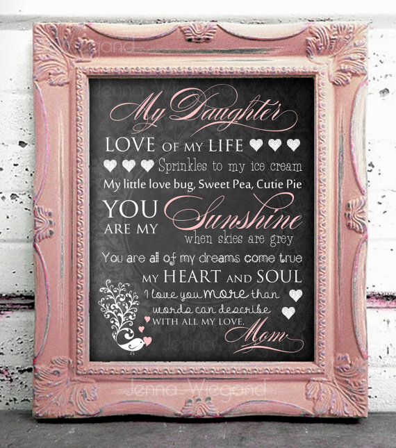 My Daughter Daughter Inspirational Print Daughter Love Quote Young Girl Quote Decor Nursery Decor