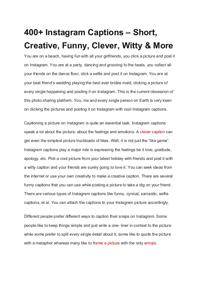Captions Short Creative Funny Clever