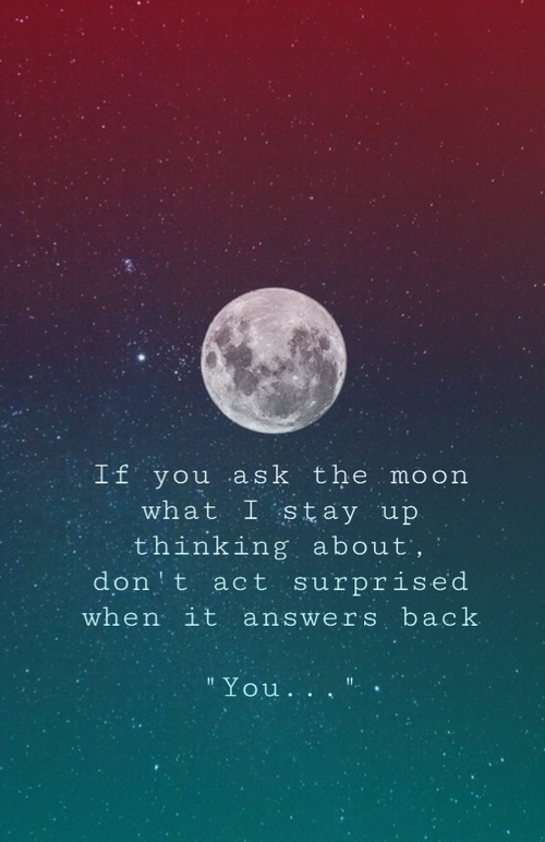 Love Quote And Moon Image