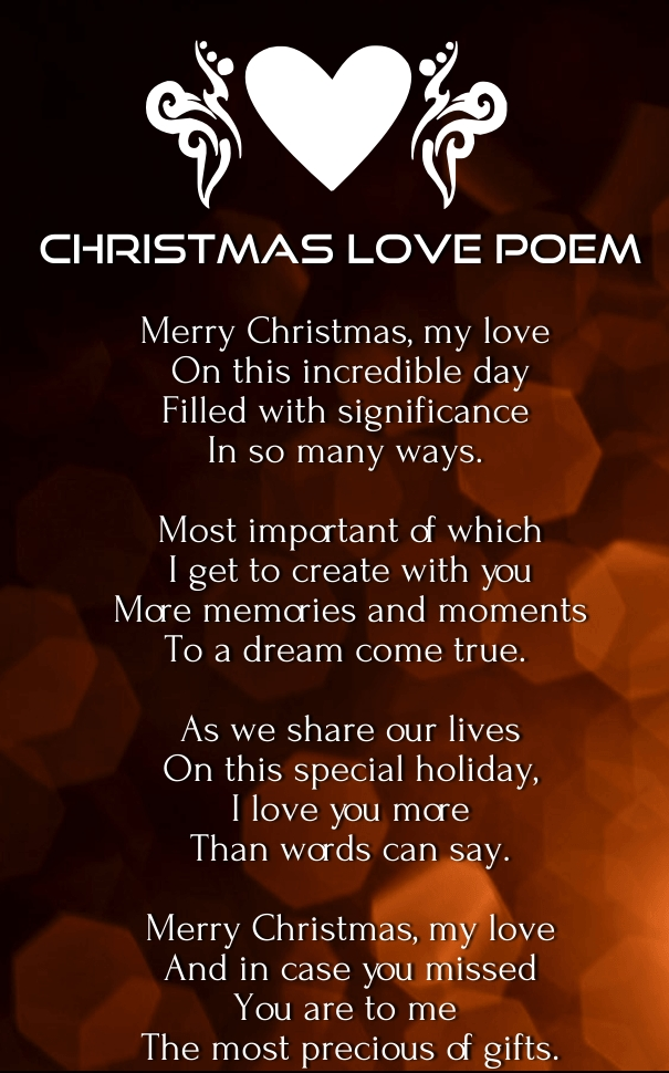 Merry Christmas  Love Poems For Him And Her Huglove