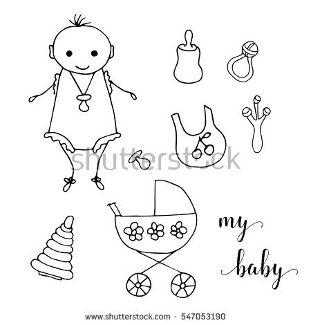 Cute Little Baby Hand Drawing In Funny Kids Style Design Element For Decoration Souvenirs