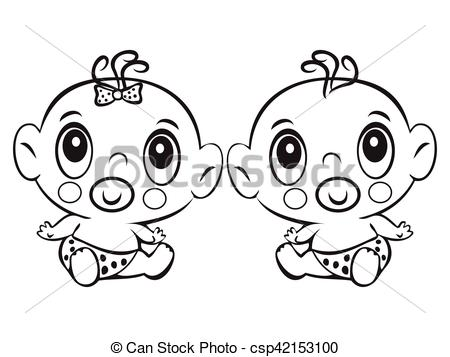 Two Funny Baby Sitting Cute Baby Boy And Girl Sitting In A Diap Csp
