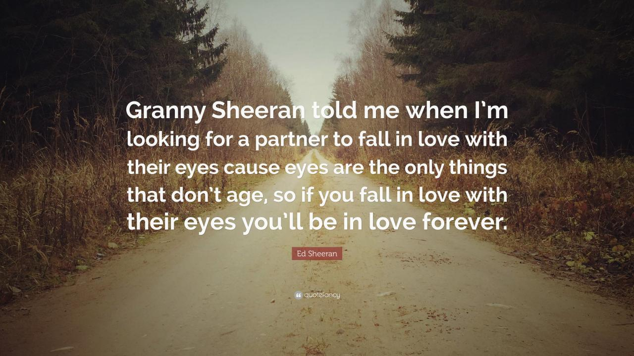 Ed Sheeran Quote Granny Sheeran Told Me When Im Looking For A