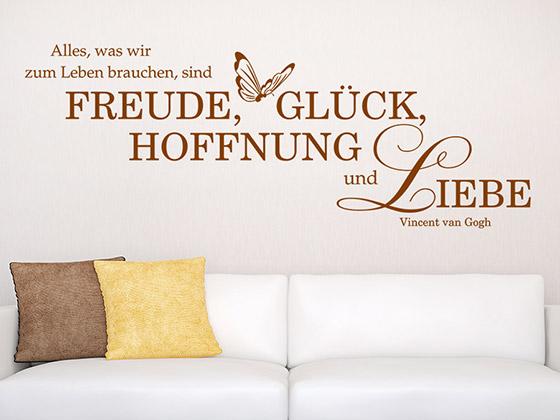 Wandtattoo Freude Gluck Hoffnung Liebe Von Wandtattoo De