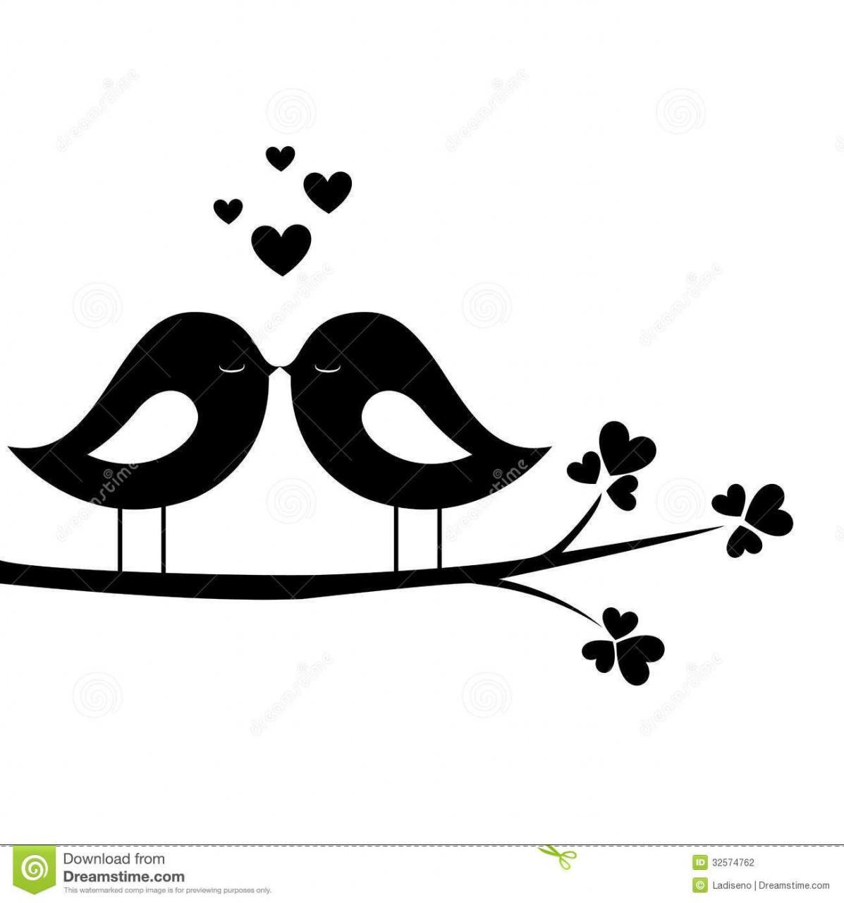 Love Birds Clipart Black Clipartfest