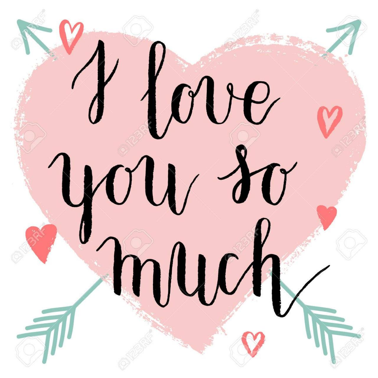 I Love You So Much Greeting Card Poster With Pink With Ink Hand Drawn Hearts