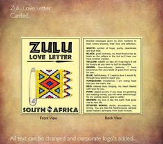 Zulu Love Letter Carded Shows The Meaning Of Each Bead Colour We Can Also