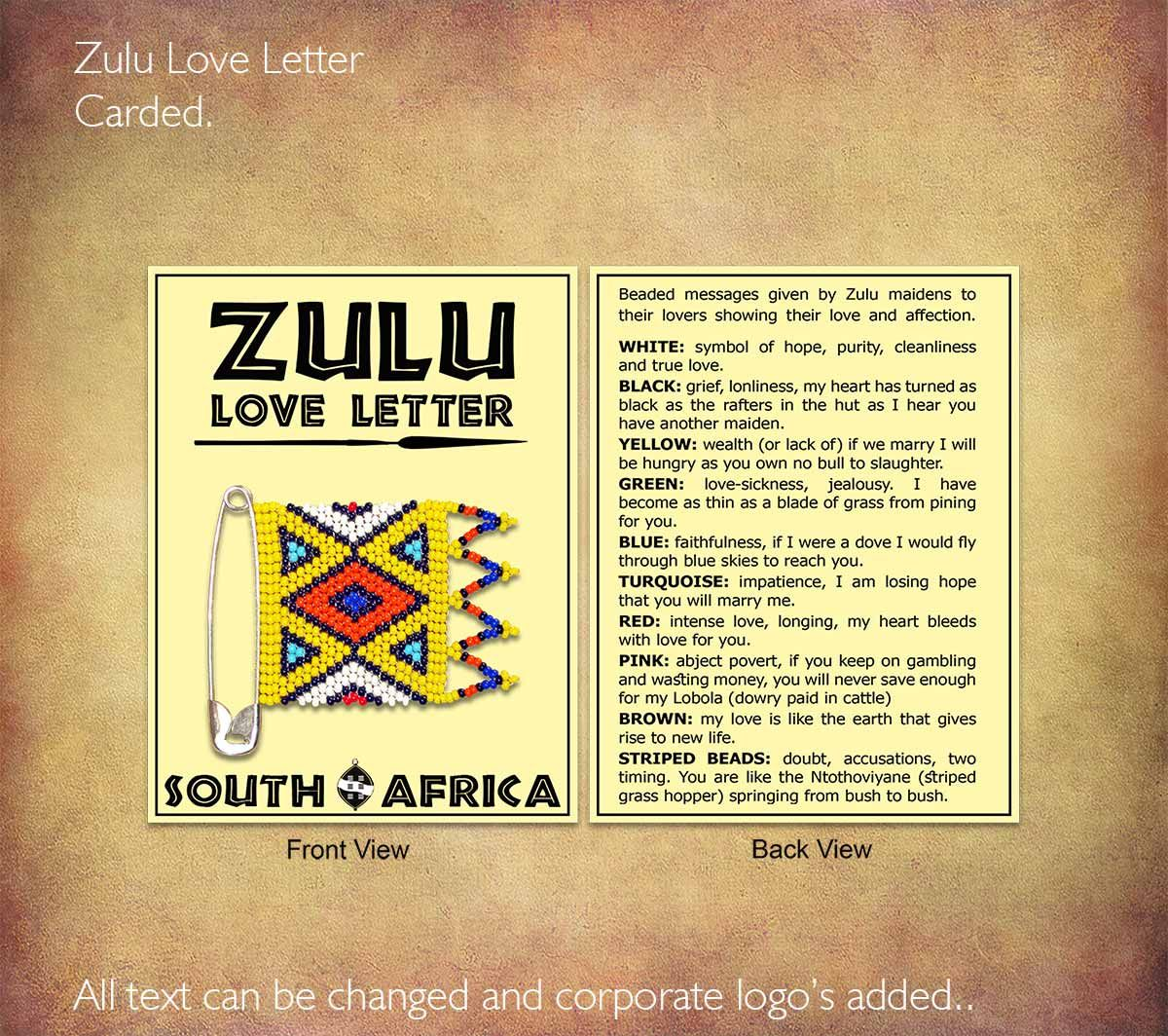 Zulu Love Letter Carded Shows The Meaning Of Each Bead Colour We Can Also Adapt This Card And Add Any Corporate Logo Or Text