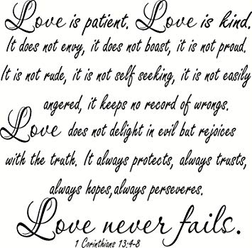 Amazon Com   V Large Size Bible Verse Wall Decal Love Patient Kind Not Envy Always Hopesveres Never Fails