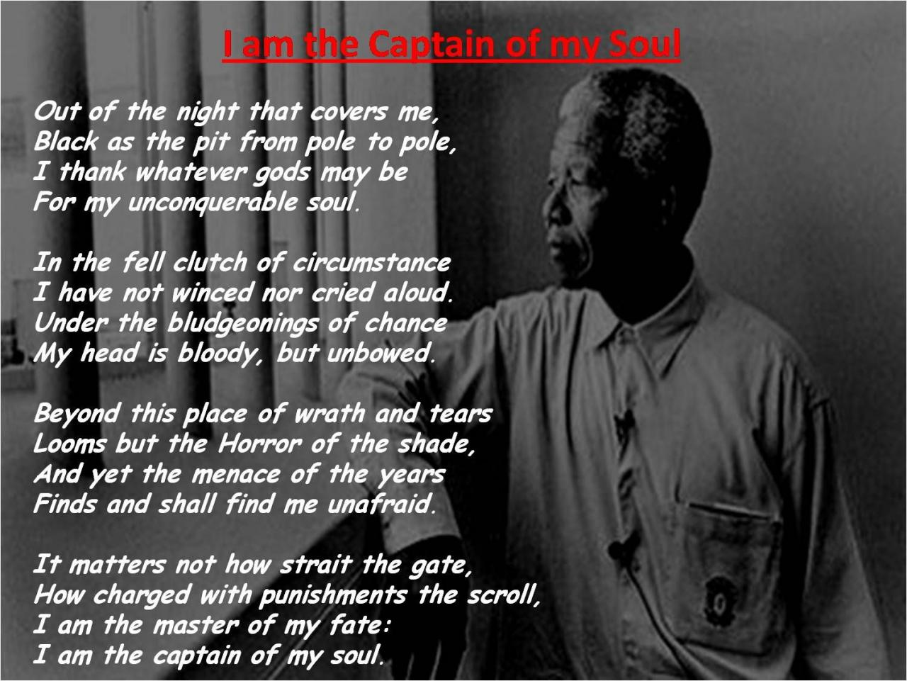 Invictous Nelson Mandela Quote I Am The Master Of My Fate