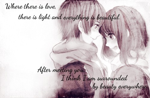Cute Love Quote With A Cute Anime Couple  E  A