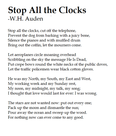 Auden Funeral Blues Stop All The Clocks Love Kills Slowly Poem