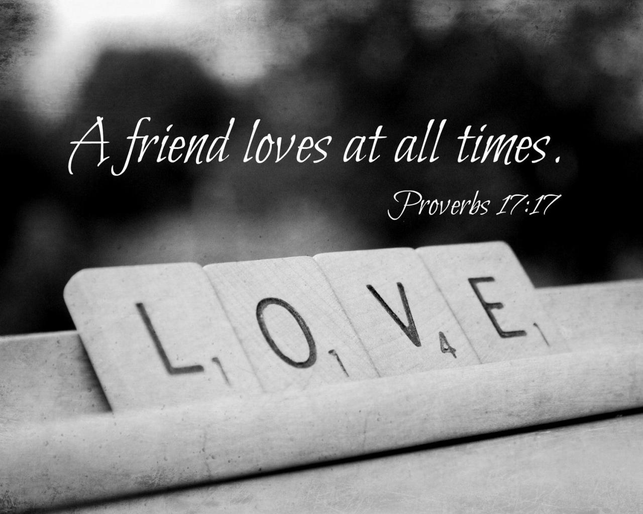 Friendship Quote Proverbs  Scripture Art Scrabble Love Print Friend Loves All Times Christian Decor Gift Bible Verse Valentines Day