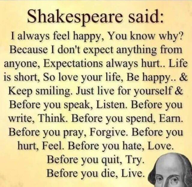 Best Inspirational Quotes About Life Quotation Image Quotes Of The Day Life Quote Shakespeare Said I Always Feel Happy You Know Why