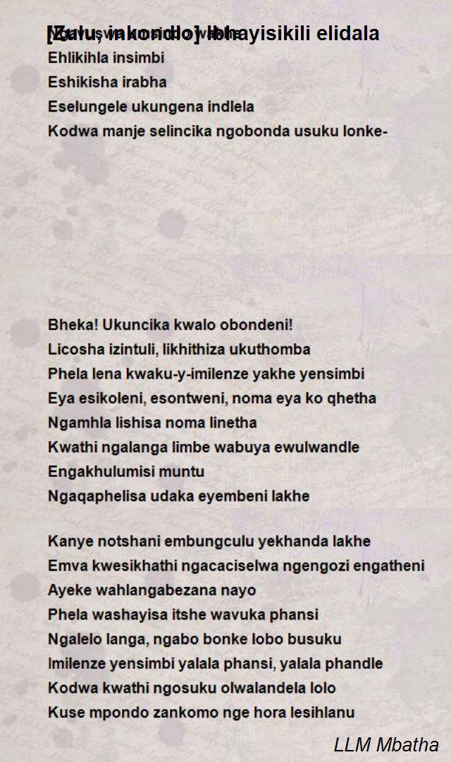 Zulu Inkondlo Ibhayisikili Elidala