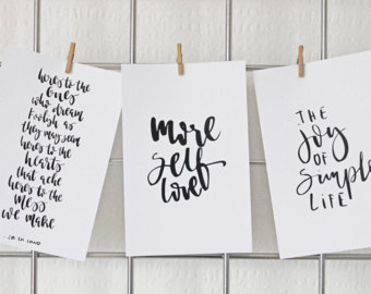 Hand Lettered Mini Prints Igraphy Quotes Clip On Cards