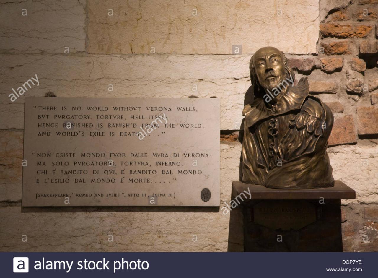 Shakespeare Buste Und Ein Zitat Aus Romeo Und Julia Verona Veneto Italien