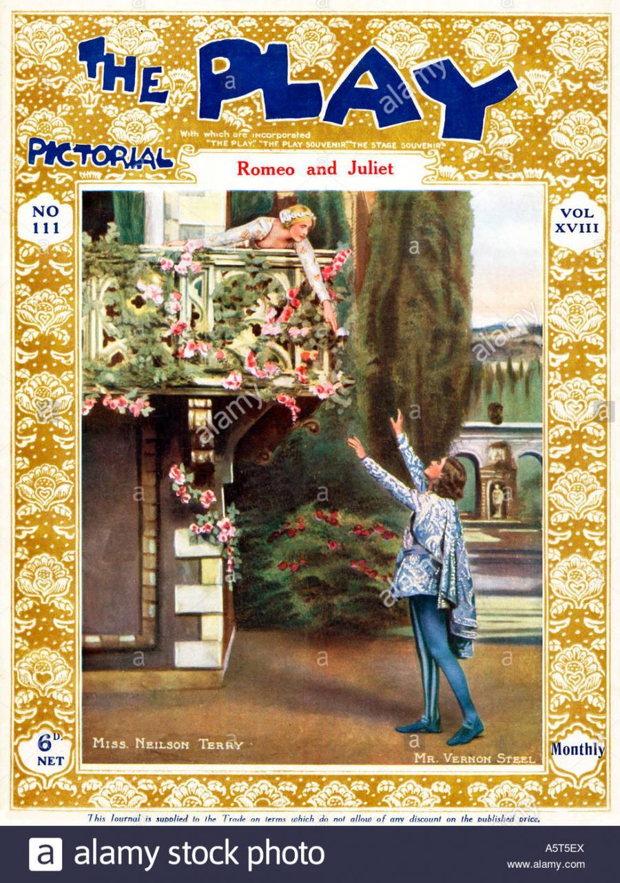 Spielen Sie Bildliche Romeo Und Juliet Neilson Terry Und Vernon Stahl In Balkonszene Am