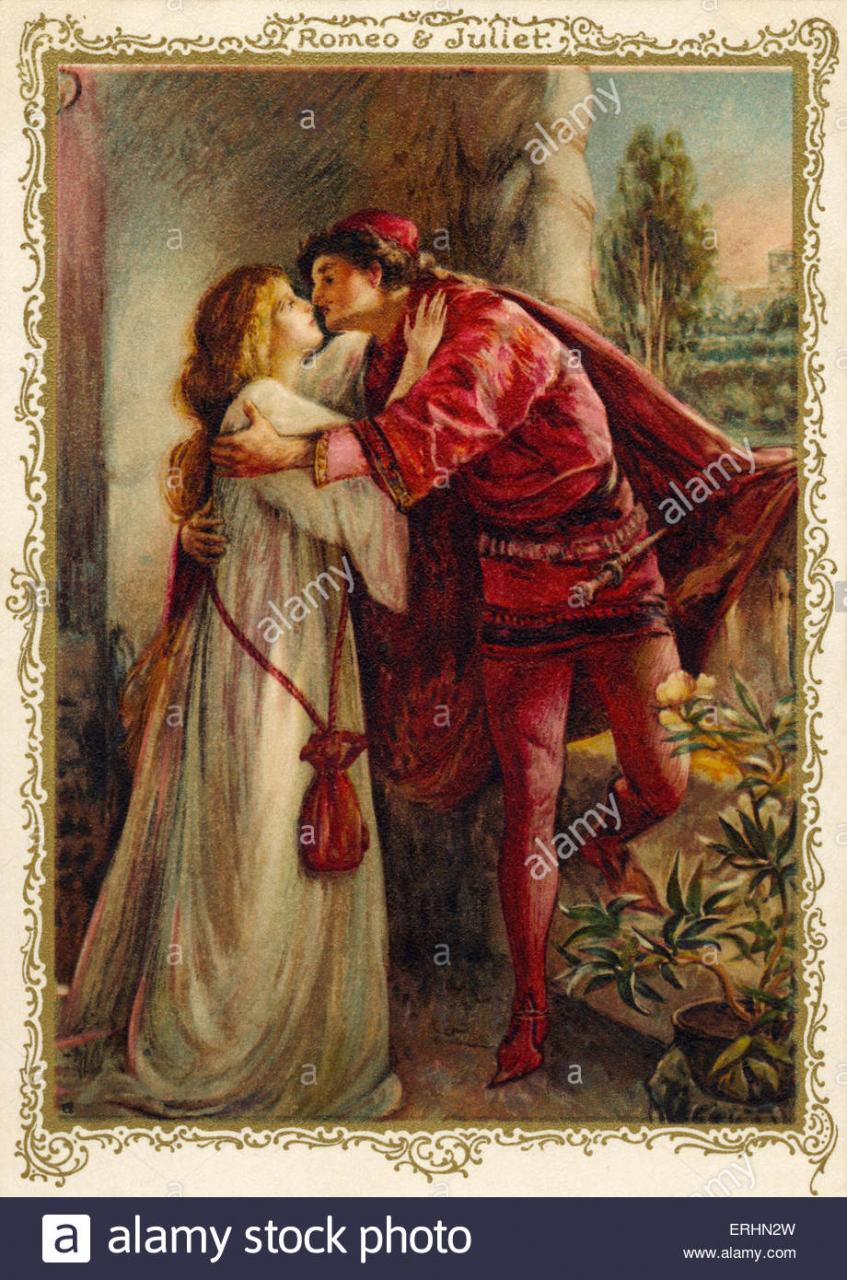 William Shakespeares Romeo Und Julia Spielen Balkonszene Ws Englischer Dramatiker