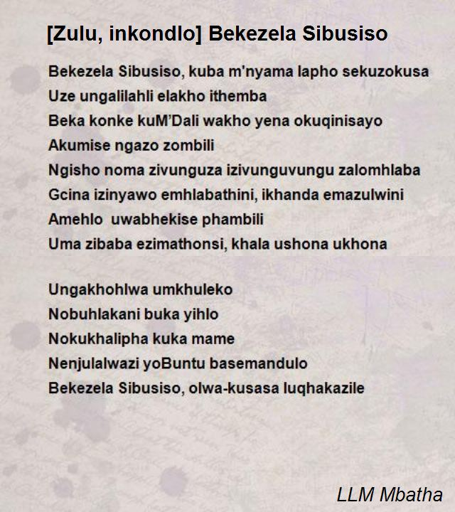 Zulu Inkondlo Bekezela Sibusiso