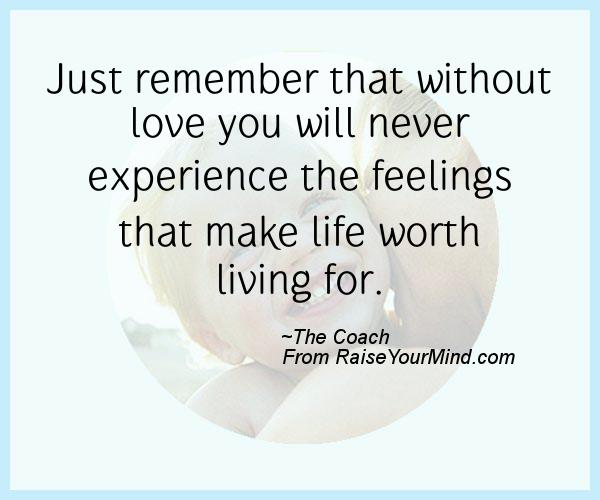 Just Remember That Without Love You Will Never Experience The Feelings That Make Life Worth Living For