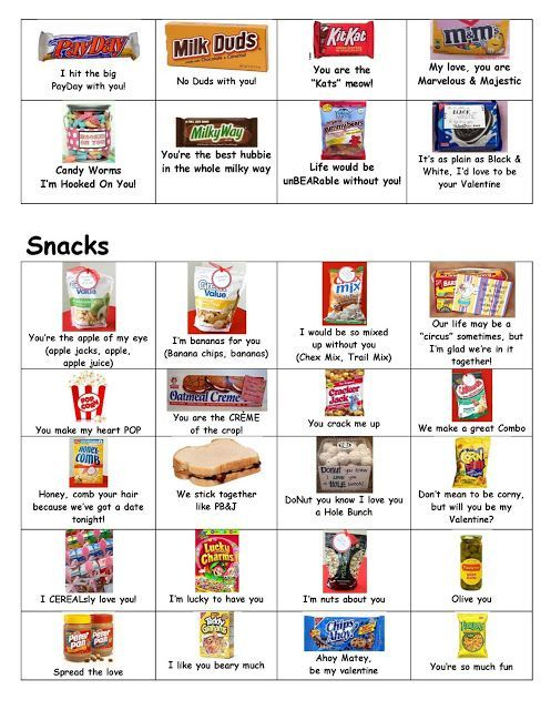 Many Cute Sayings For All Sorts Of Snacks And Candy Bars And Things