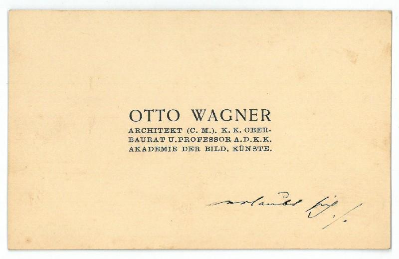 Otto Wagner Autograph Zvab