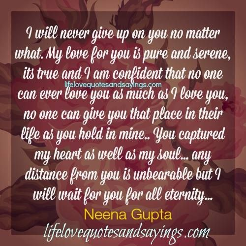 I Will Never Give Up Love Quotes And Sayings