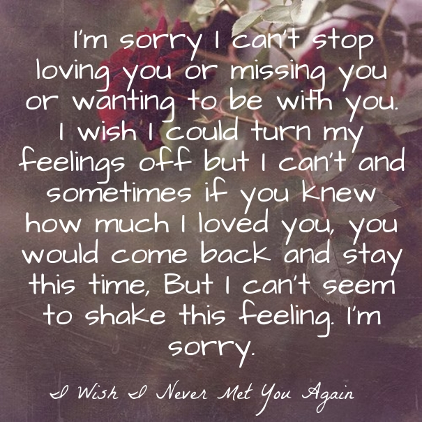 I Am Sorry Love Quote Regret Sayings