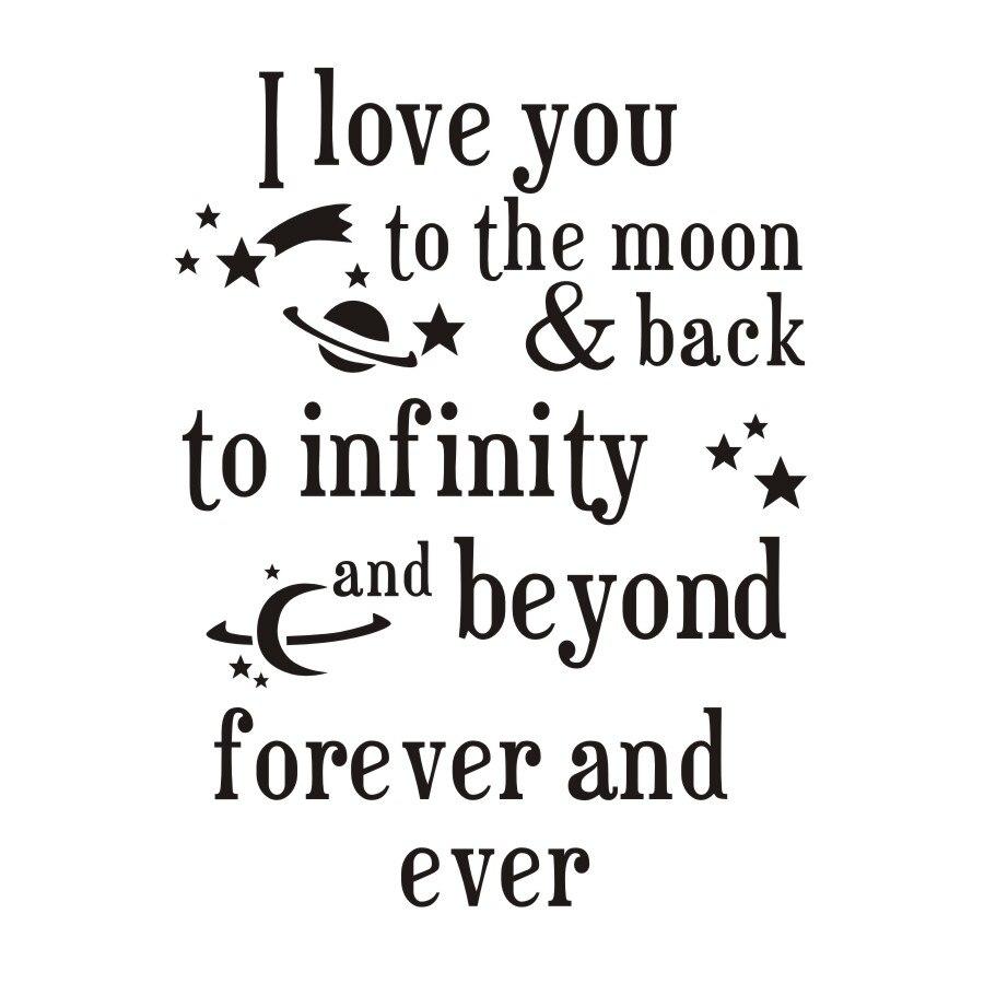 Ich Liebe Dich Zum Mond Und Zuruck Zitate Wandaufkleber Romantische Liebe Spruche Selbstklebende Tapete Fur Baby Room Home Decor In Ich Liebe Dich Zum Mond