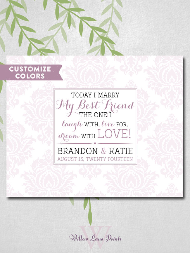 Damask Wedding Guest Book Alternative Romantic Love Quote Today I Marry My Best Friend Personalized Guest Signing Canvas