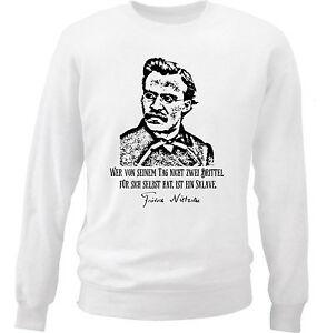 Image Is Loading Friedrich Nietzsche Sklave Zitate New White Cotton Sweatshirt