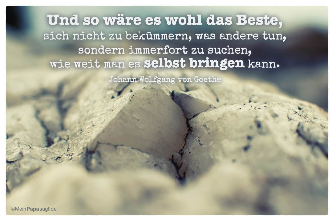 Stein Mit Dem Goethe Zitat Und So Ware Es Wohl Das Beste Sich Nicht