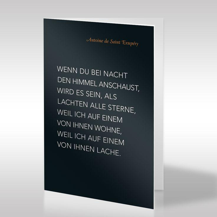Se Schwarze Trauerkarte Prasentiert Ein Zitat Von Antoine De Saint Exupery In Klarer Weiser Typografie