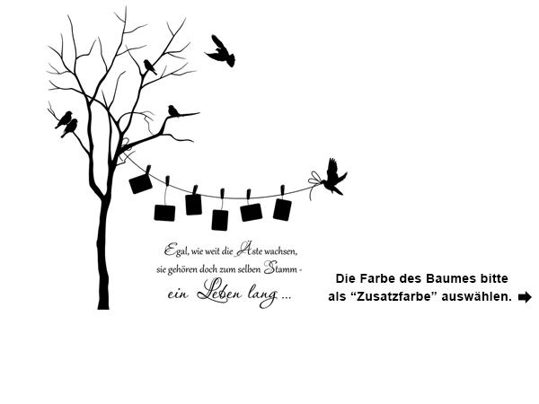 Wandtattoo Zweifarbiger Baum Mit Fotorahmen Und Spruch Wandtattoo Foto Baum Wandtattoos