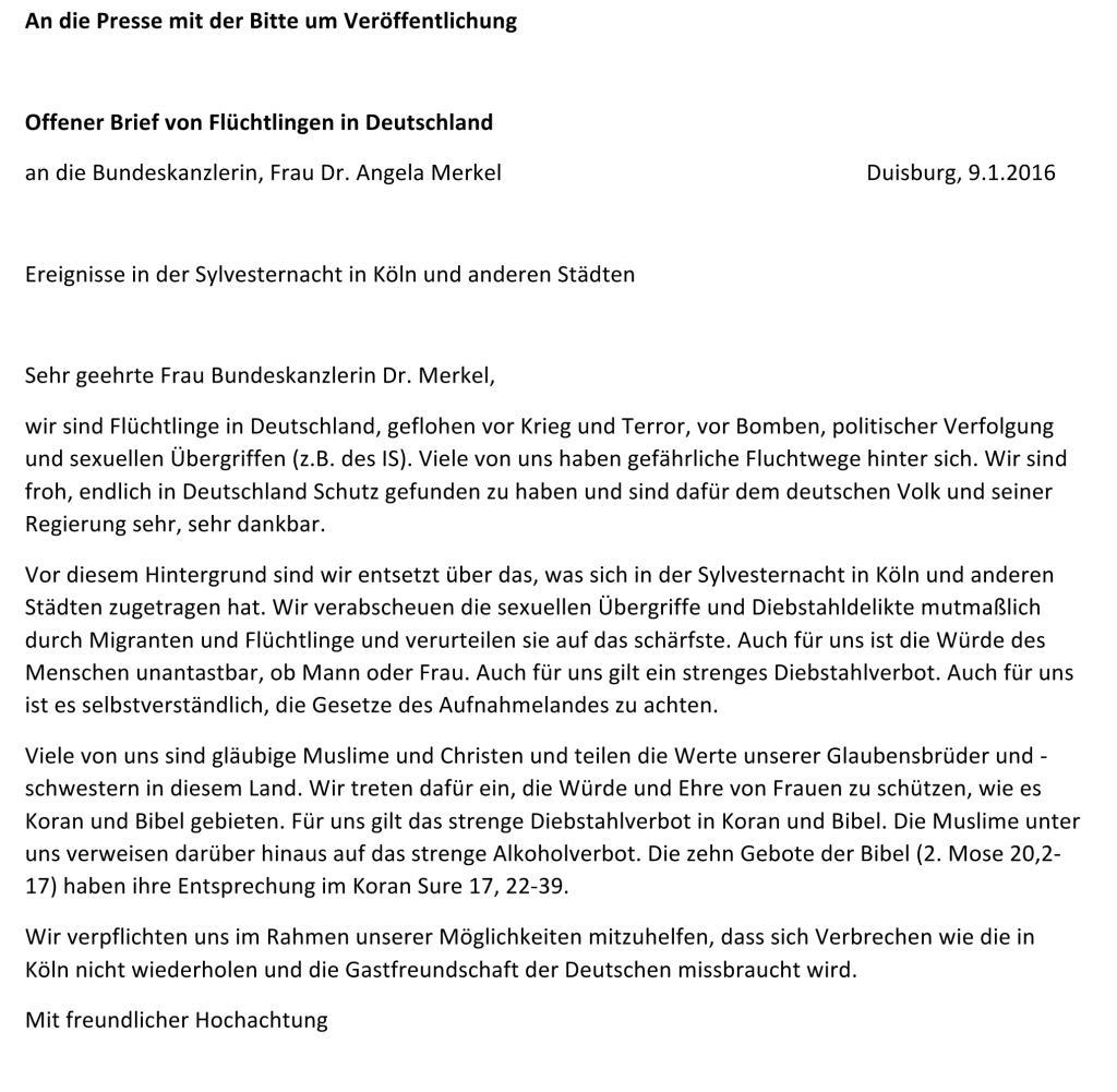 Offener Brief Von Fluchtlingen An Frau Merkel
