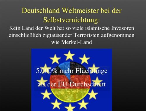Merkels Vernichtungswerk Deutschland Hat   Prozent Mehr Fluchtlinge Als Der Eu Durchschnitt