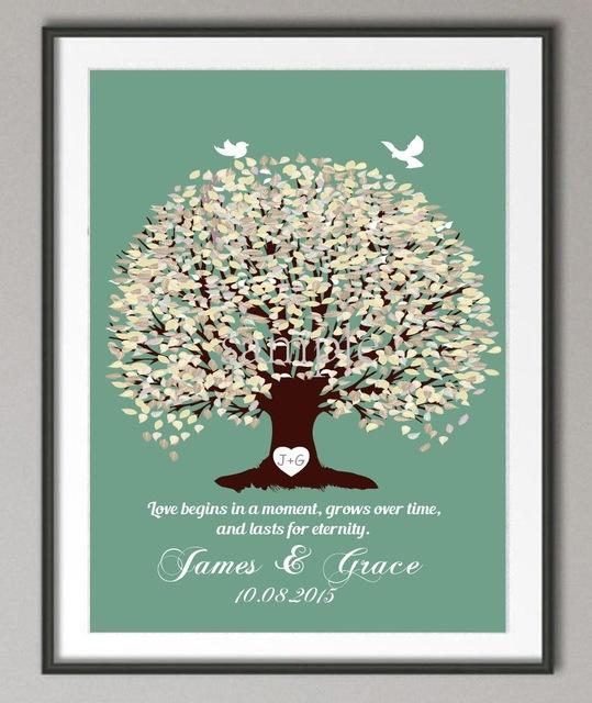Hochzeitstag Poster Familie Baum Kunstdruck Bilder Leinwand Malerei Personalisierte Hochzeitsgeschenke Liebe Quote Wall Decor