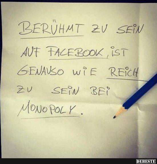 Beruhmt Zu Sein Auf Facebook Debeste De Lustige Bilder Spruche