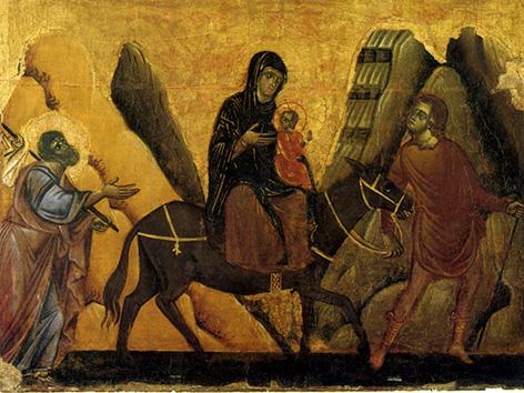 Maria Mit Jesus Auf Dem Esel Gemeinsam Mit Josef Auf Der Flucht Nach Agypten
