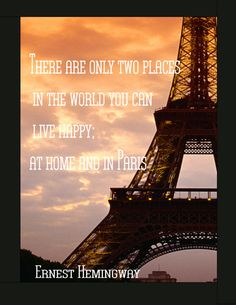 Eiffel Tower With Hemingway Quote Digital By Newjerseyaccents