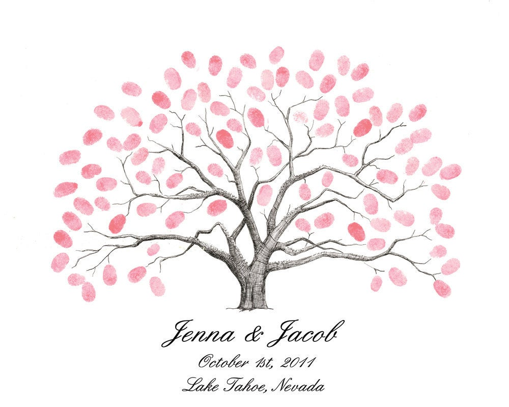 Personalized Thumbprint Tree Wedding Guest Book Alternative