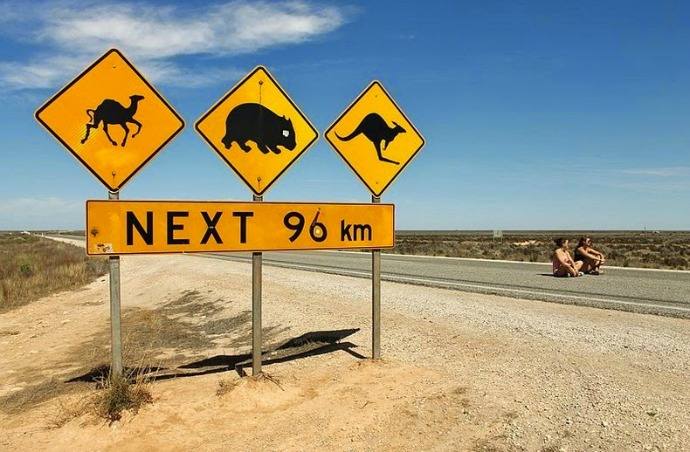Eyre Highway is a road that runs along the Nularbor plain, Australia