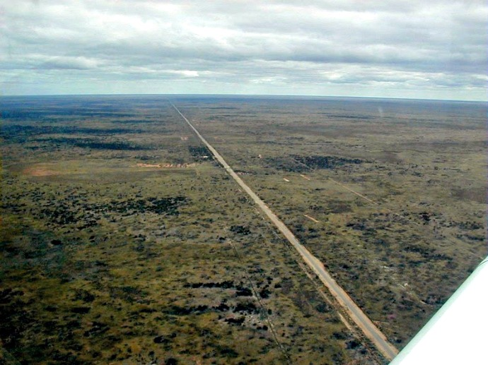 This is the appearance of Eyre Highway which is a flat and straight road displayed in the world